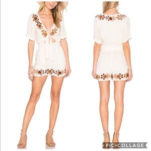 Tularosa Rowley Embroidered Tie Front Romper Crepe
